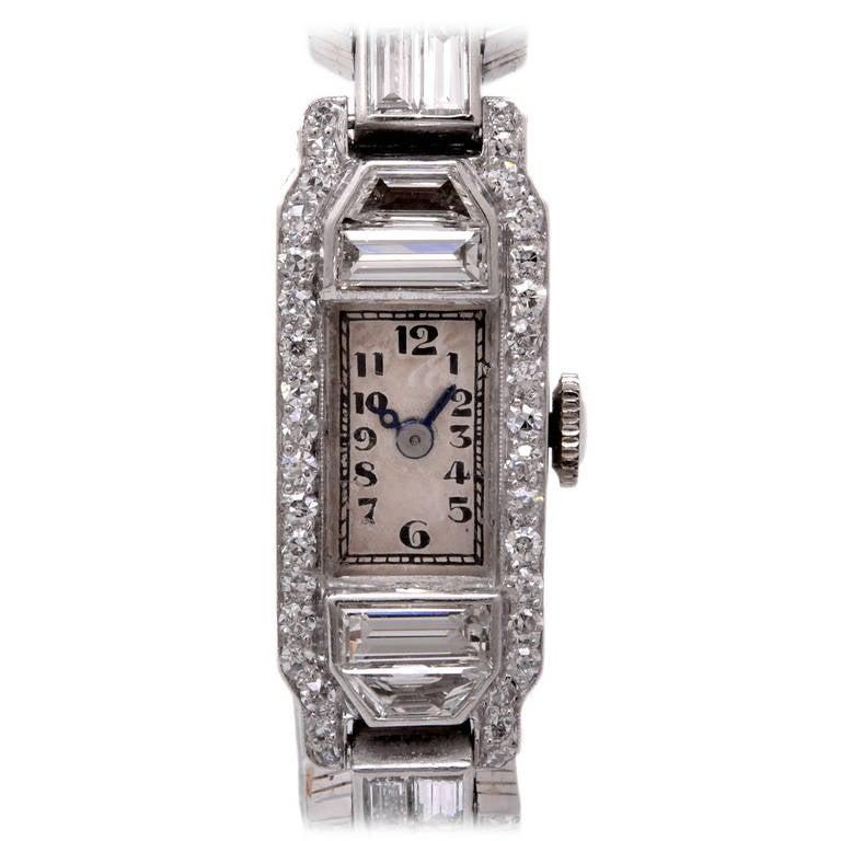 Mathey Tissot Ladies Diamond Platinum Bracelet Wristwatch 2