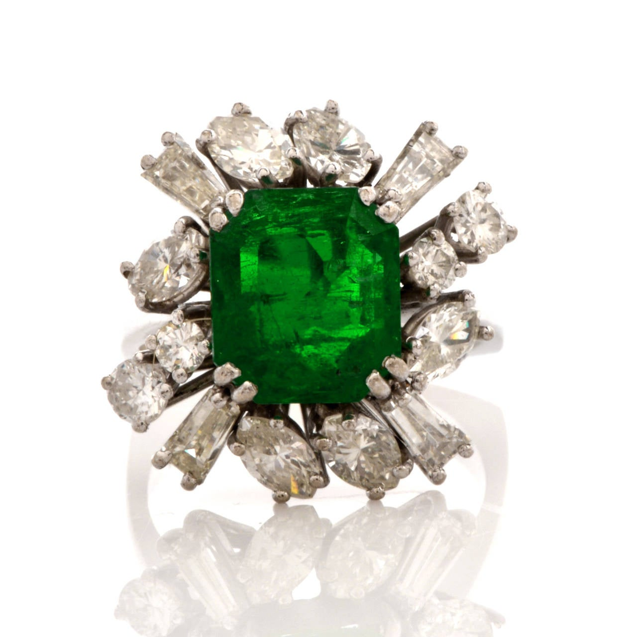 Emerald Diamond Gold Cocktail Ring 2