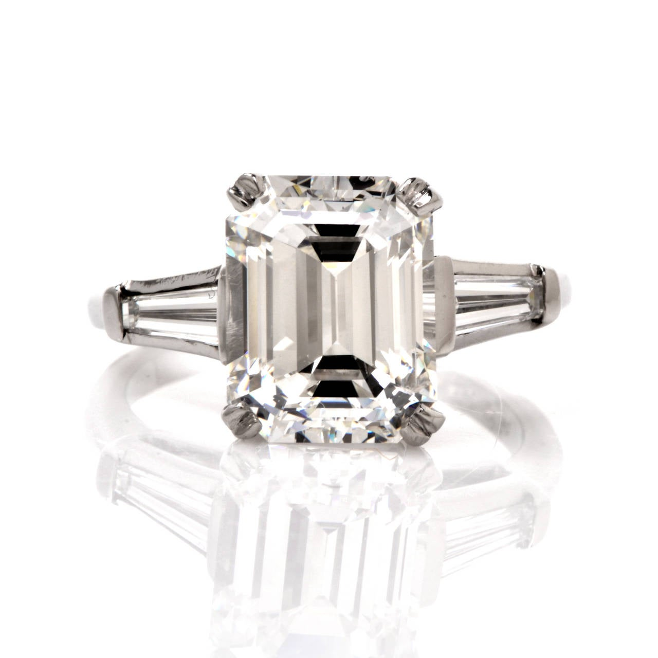 emerald cut platinum engagement ring at 1stdibs