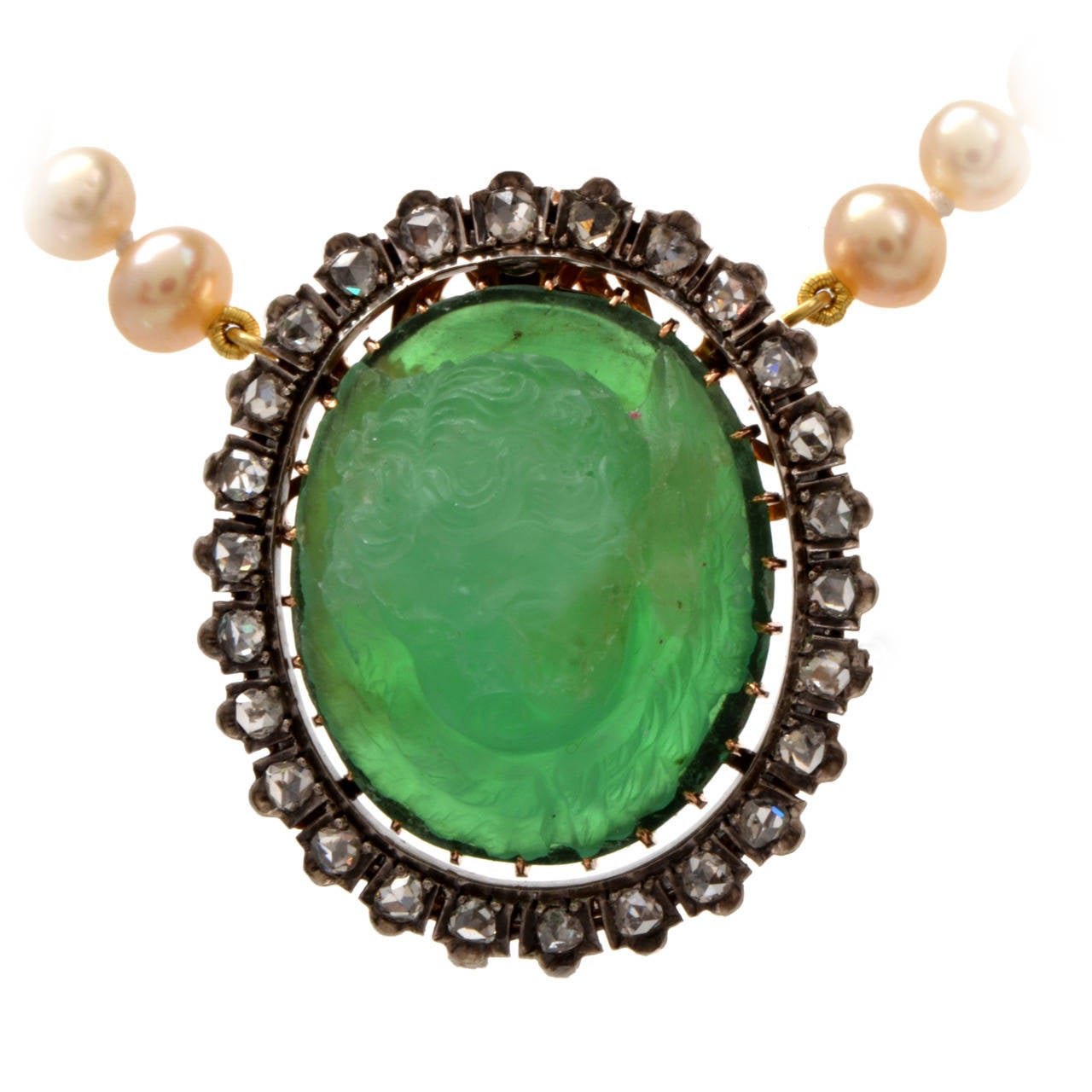 Pearl Emerald Angel Cameo Rose-cut Diamond Gold Necklace