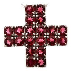 Pasquale Bruni Pink Tourmaline Gold Cross Pendant