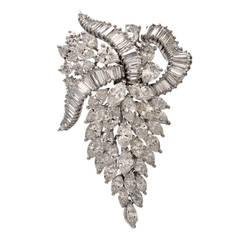 Diamond Platinum Grape Leaf Cluster Brooch Pin