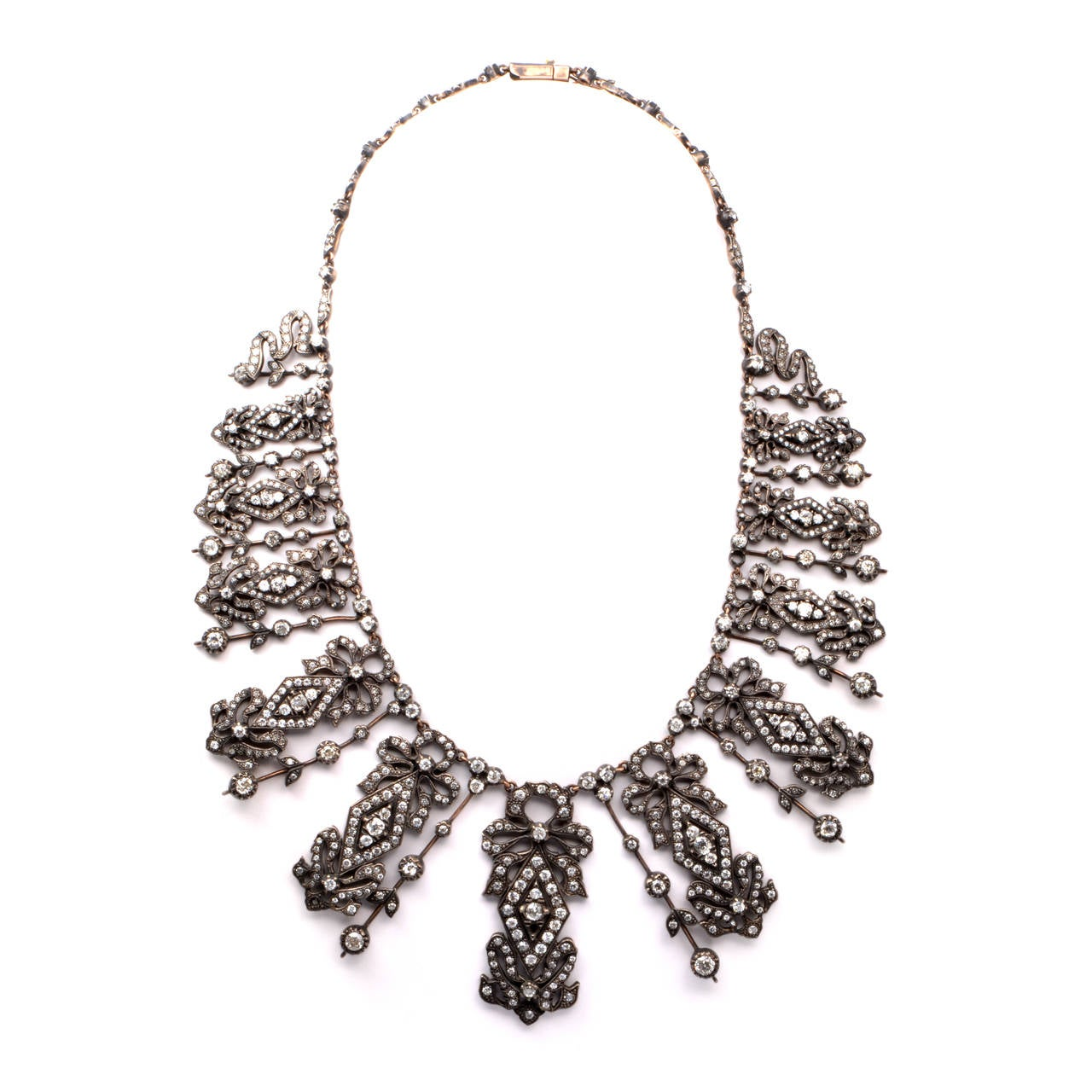 Diamond Silver Gold Fringe Necklace 4