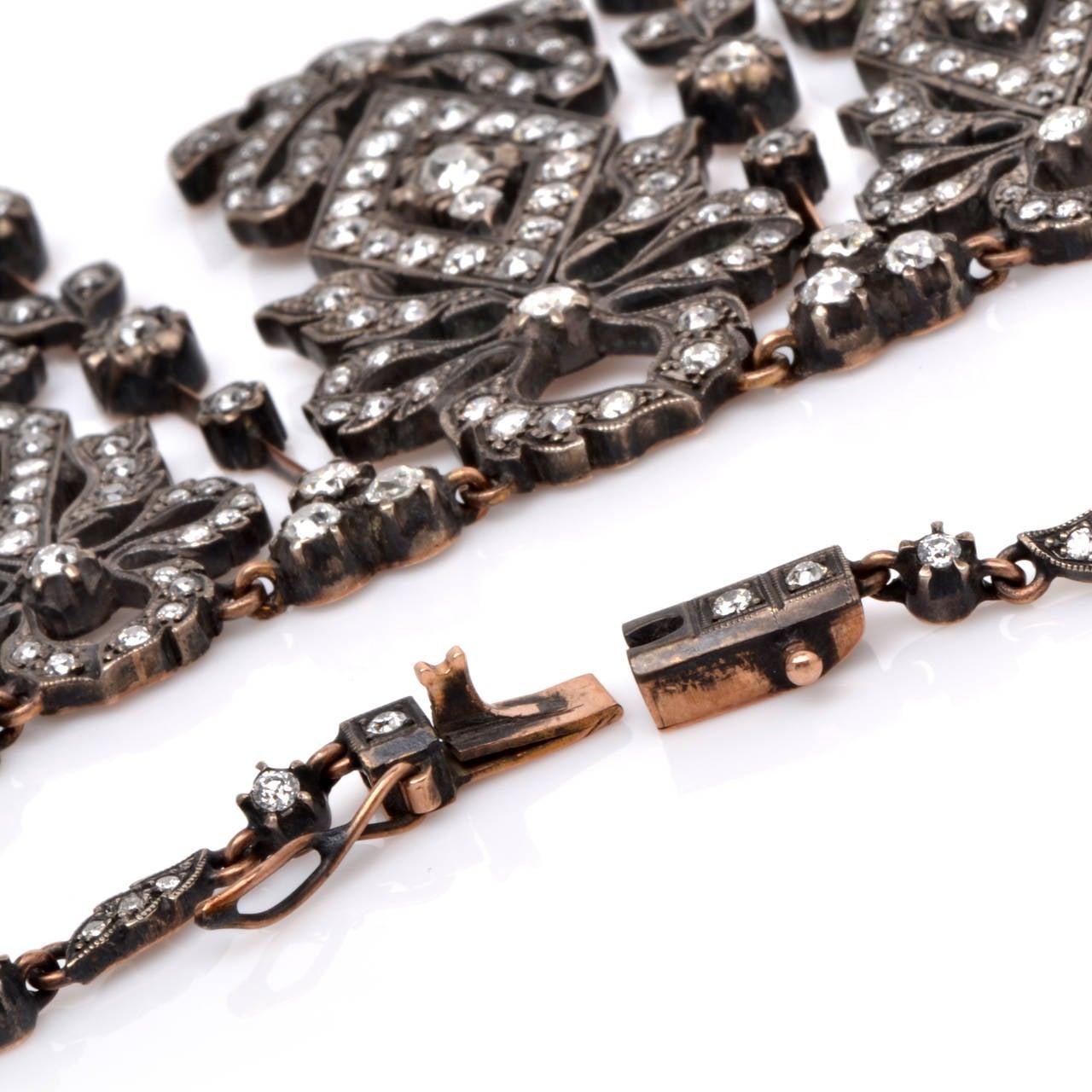 Diamond Silver Gold Fringe Necklace 6