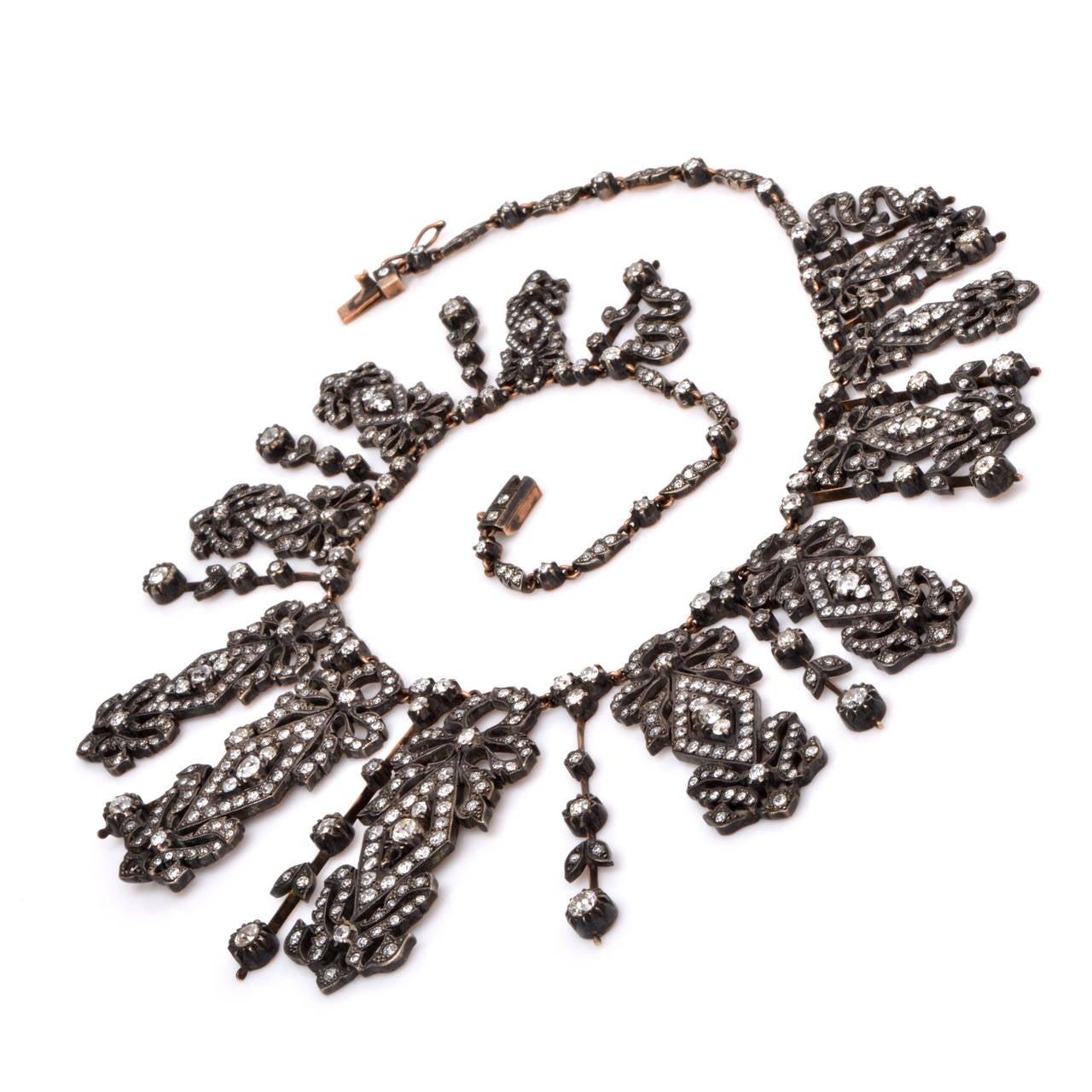 Diamond Silver Gold Fringe Necklace 7