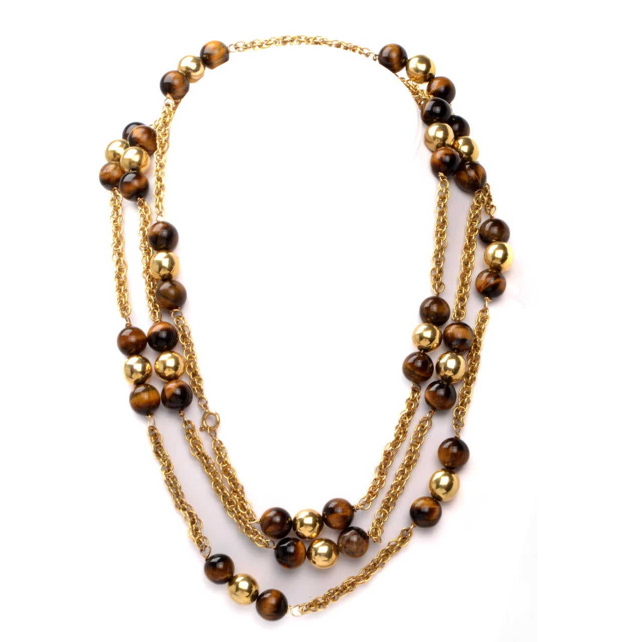 tiger s eye yellow gold bead sautoir necklace at 1stdibs