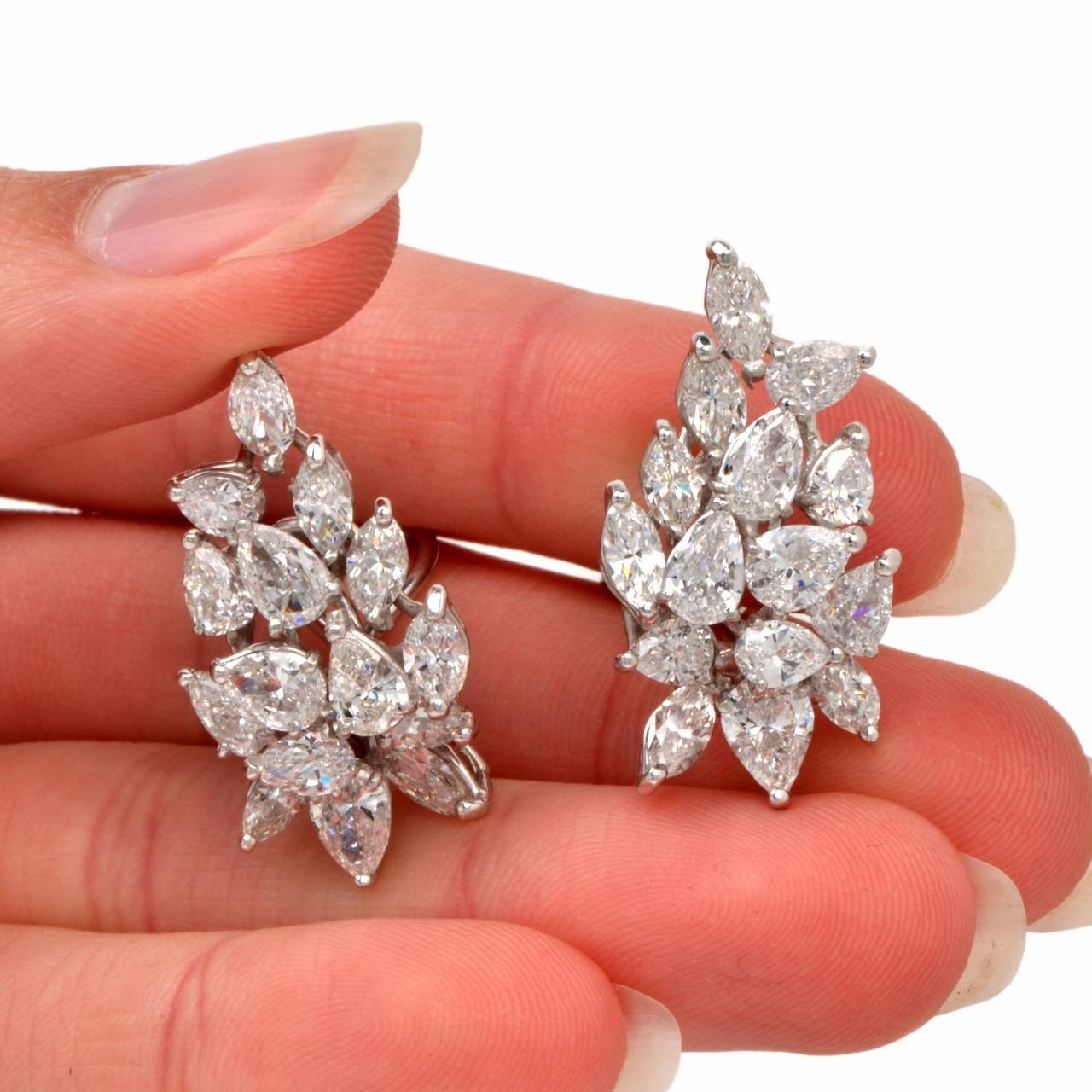 Marquise And Pear Shaped Diamond Gold Clip Back Earrings For 1