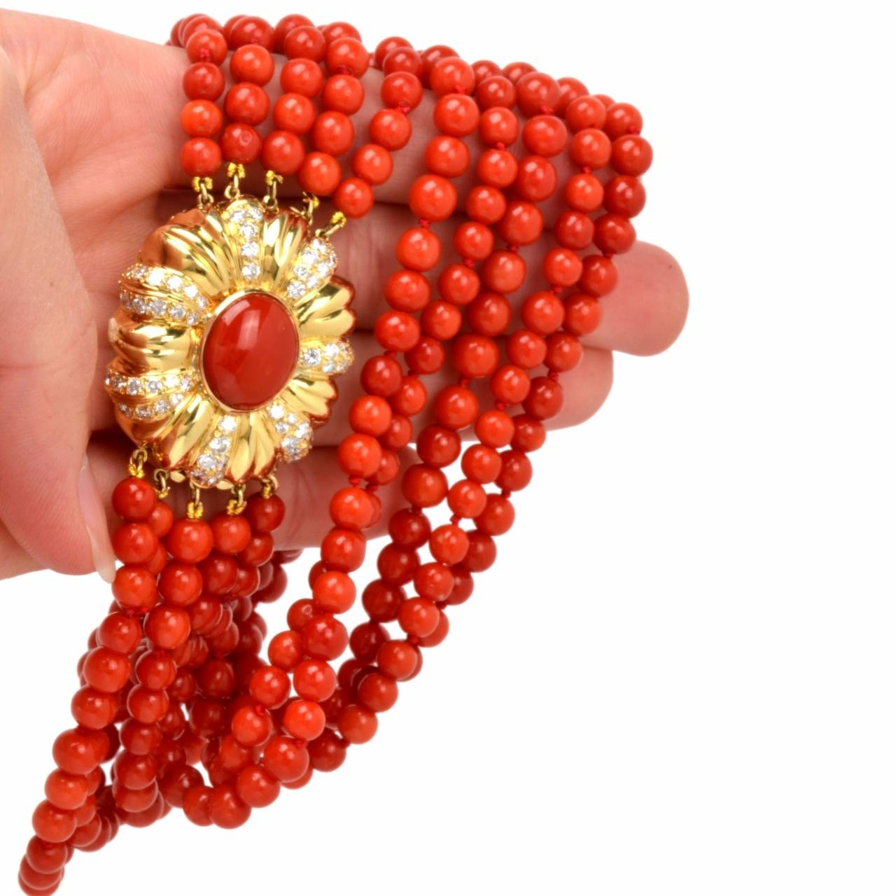 Beaded Diamond: Red Coral Bead Diamond Yellow Gold Necklace At 1stdibs
