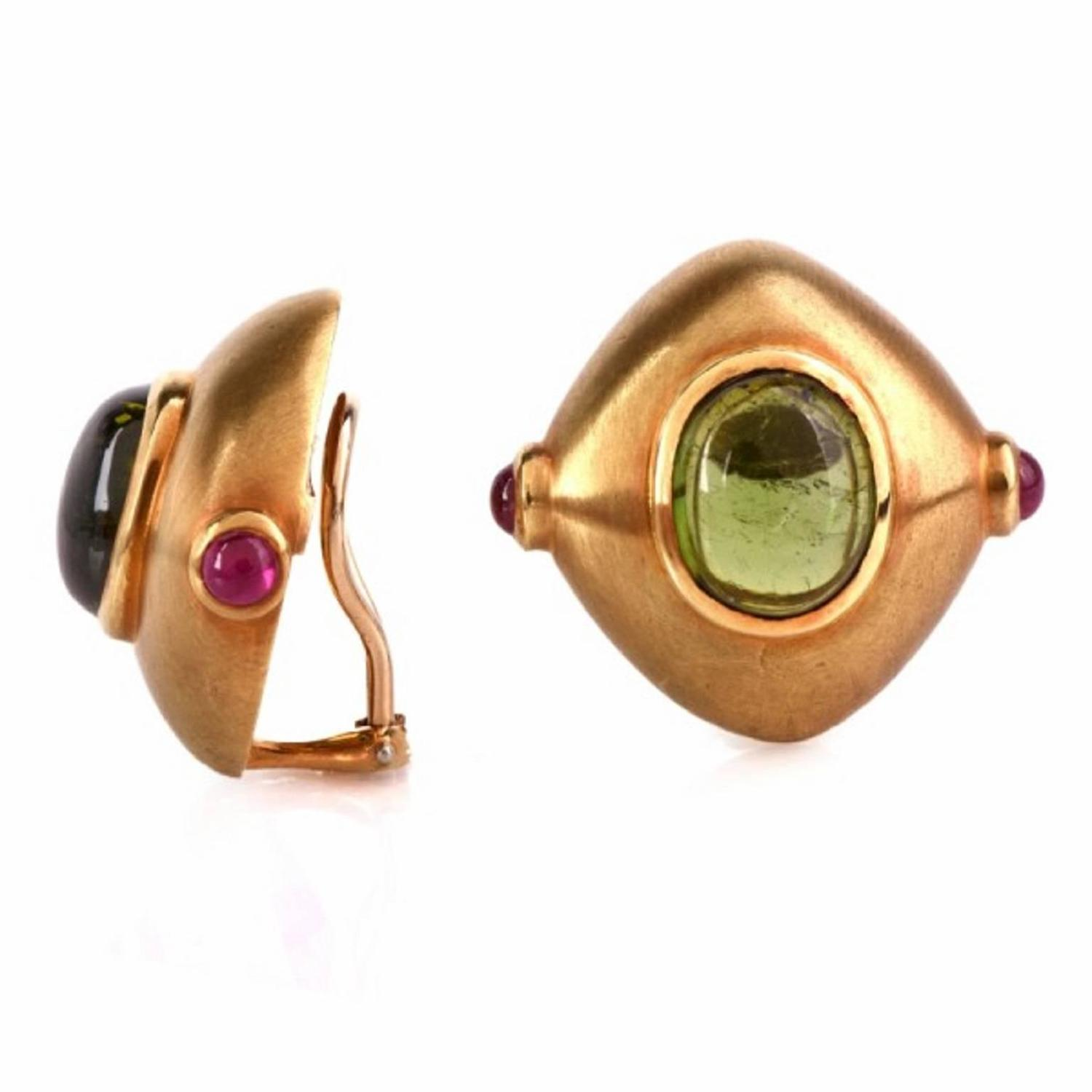 tourmaline gold clip back earrings at 1stdibs