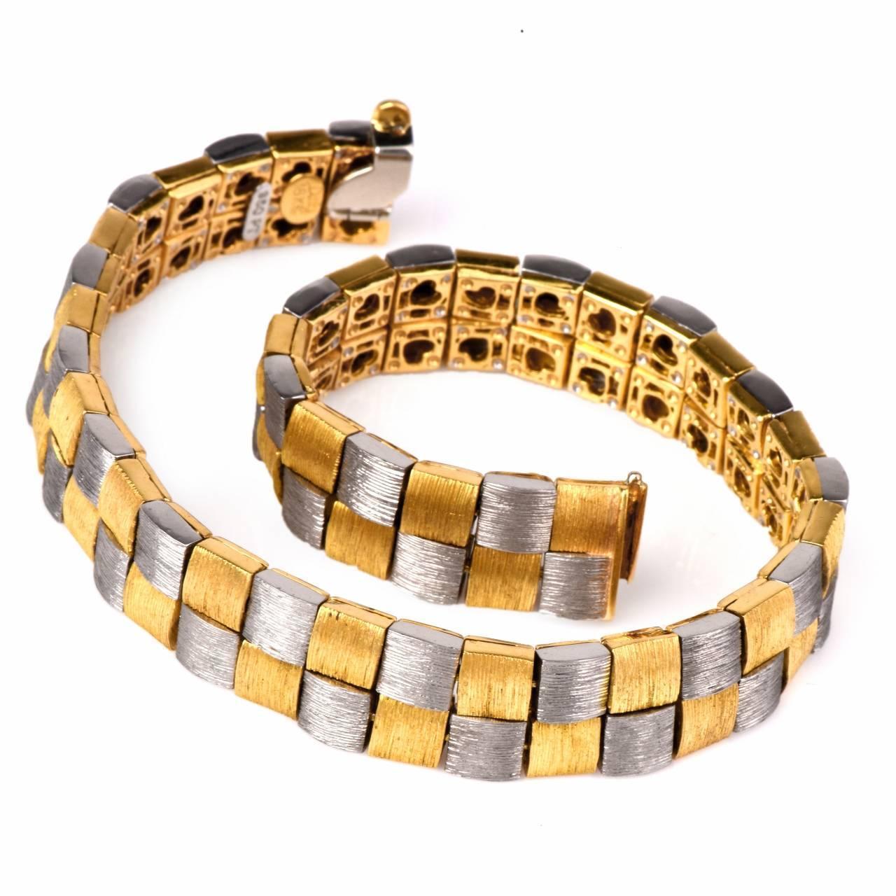 Henry Dunay Two Color Gold Platinum Men's Link Bracelet ... Platinum Bracelets For Men