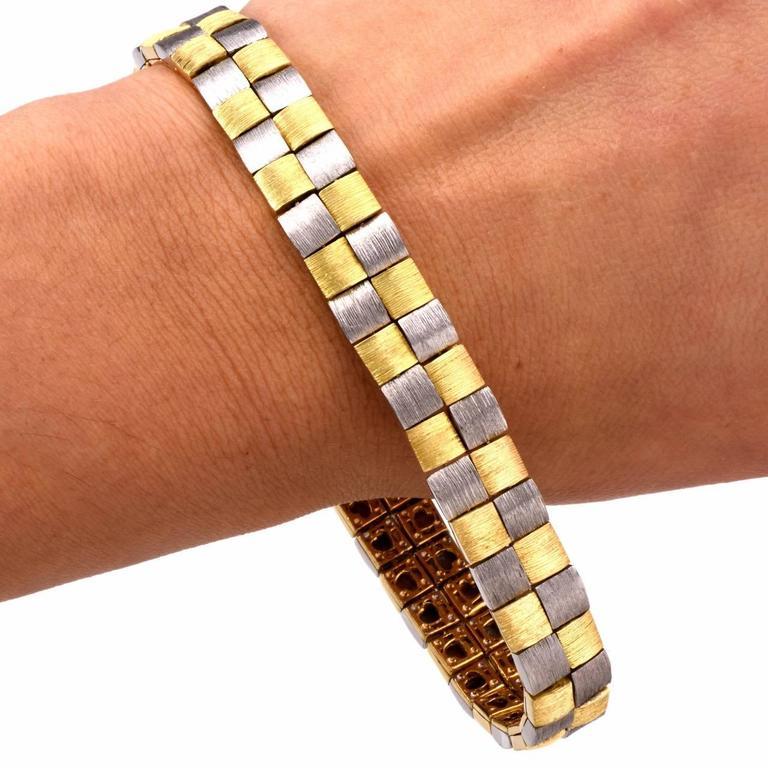 Henry Dunay Two Color Gold Platinum Men's Link Bracelet at ... Platinum Bracelets For Men
