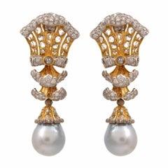 Buccellati Pearl Diamond Gold Drop Earrings