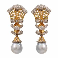Buccellati  Pearl Diamond Gold Drop Earrings