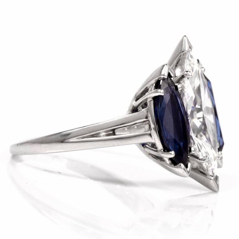 Oscar Heyman GIA 4.19 Carat E-VS2 Marquise Diamond platinum Engagement Ring For Sale 1