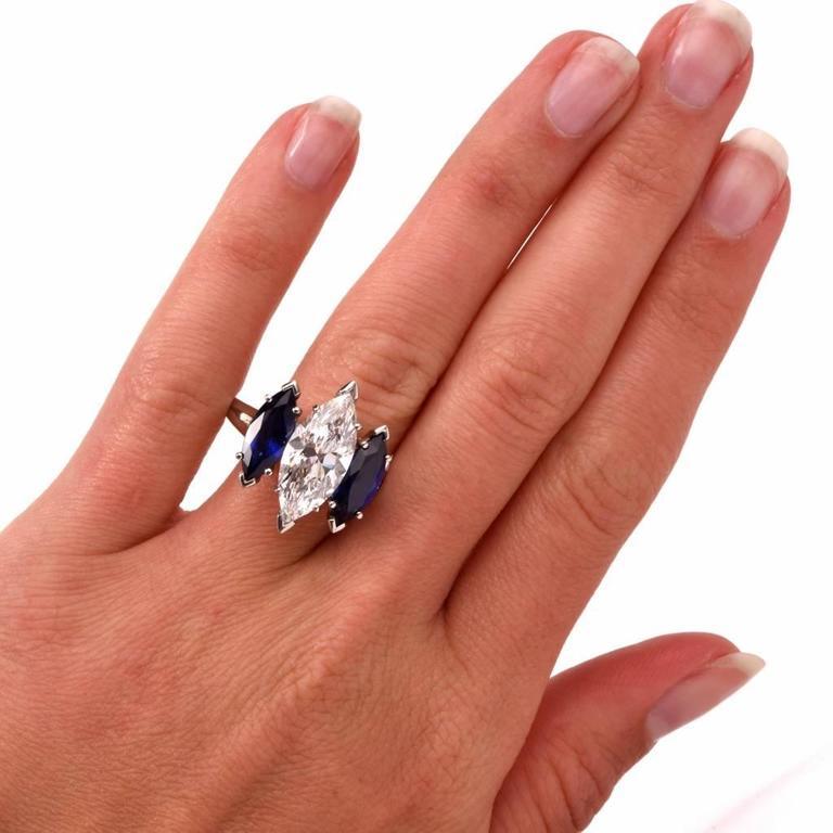 Marquise Cut Oscar Heyman GIA 4.19 Carat E-VS2 Marquise Diamond platinum Engagement Ring For Sale