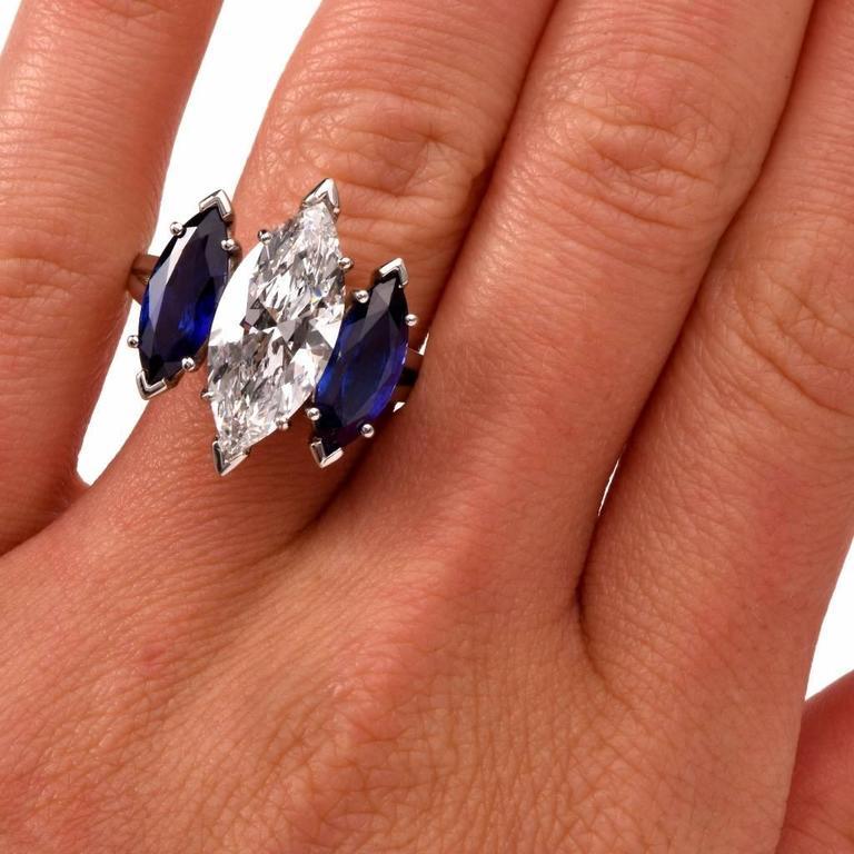 Oscar Heyman GIA 4.19 Carat E-VS2 Marquise Diamond platinum Engagement Ring For Sale 3