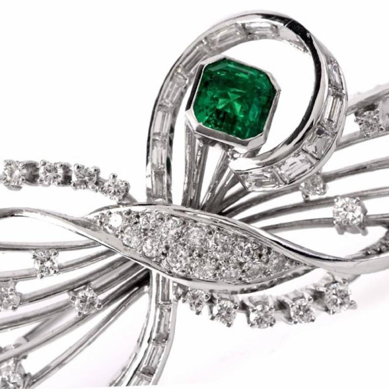 Modern Emerald Diamond Platinum Floral Motif Pin Brooch For Sale