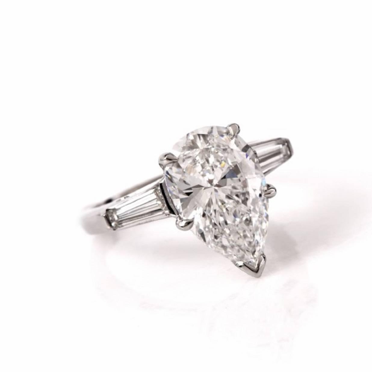 3 09 carat GIA cert pear diamond Platinum Engagement Ring at 1stdibs