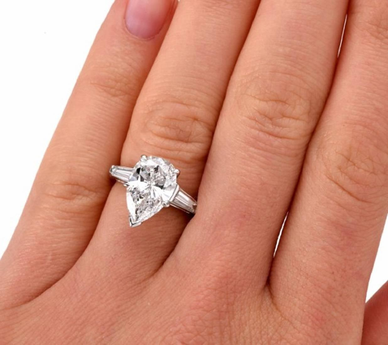 3 09 carat GIA cert pear diamond Platinum Engagement Ring at 1stdibs