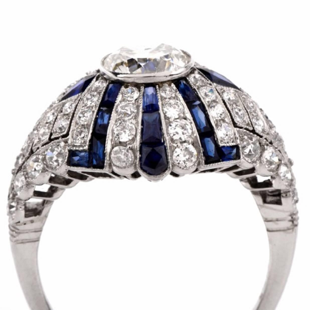 Antique Diamond Sapphire platinum ring For Sale at 1stdibs