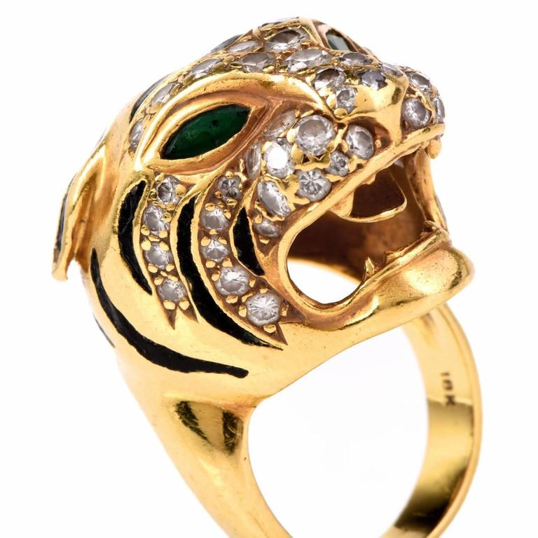 emerald gold panther ring at 1stdibs
