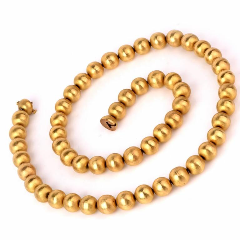 1980s Gold 14mm Beads Necklace 2