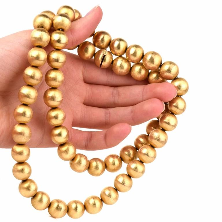 1980s Gold 14mm Beads Necklace 5