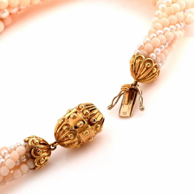 Retro Coral Beads Pearl Diamond Gold Choker Necklace For Sale