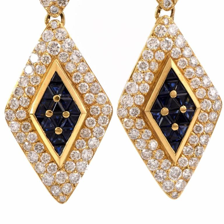 Sapphire Diamond Gold Pendant Earrings 2