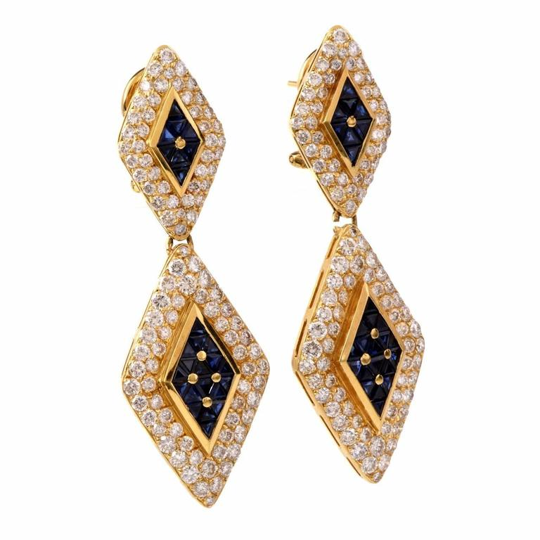 Sapphire Diamond Gold Pendant Earrings 3