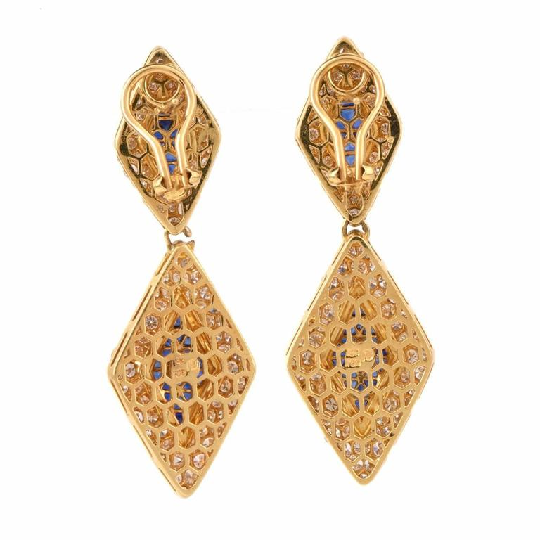Sapphire Diamond Gold Pendant Earrings 4