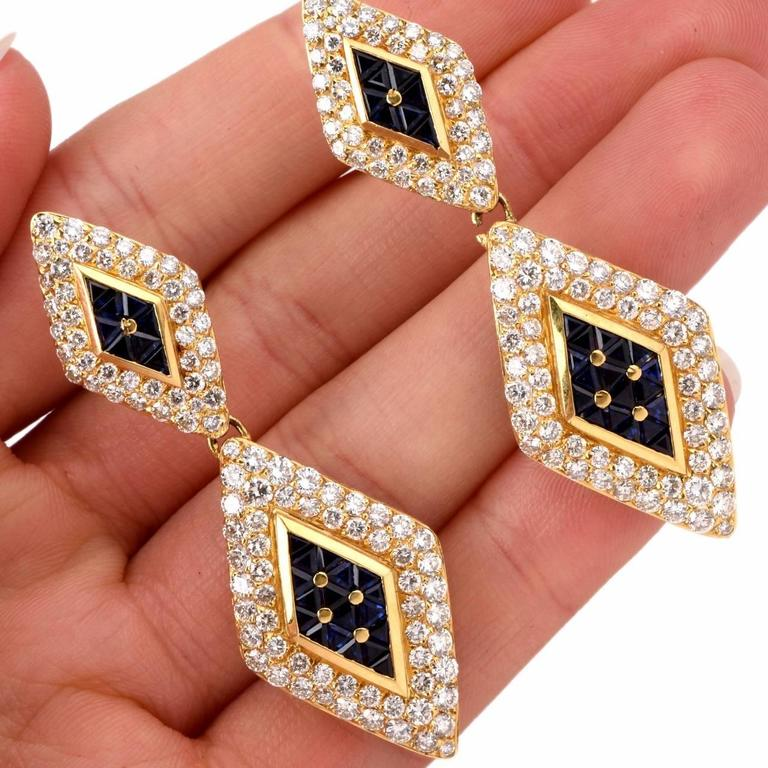 Sapphire Diamond Gold Pendant Earrings 5