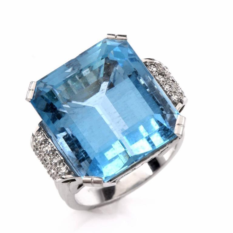 Retro Fine Aquamarine Diamond Platinum Ring 3