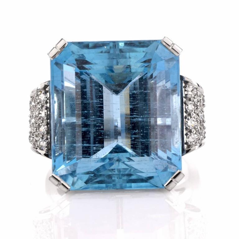 Retro Fine Aquamarine Diamond Platinum Ring 2
