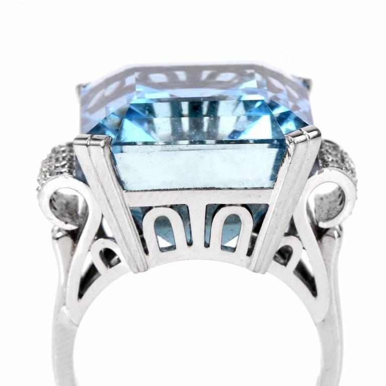 Retro Fine Aquamarine Diamond Platinum Ring 5