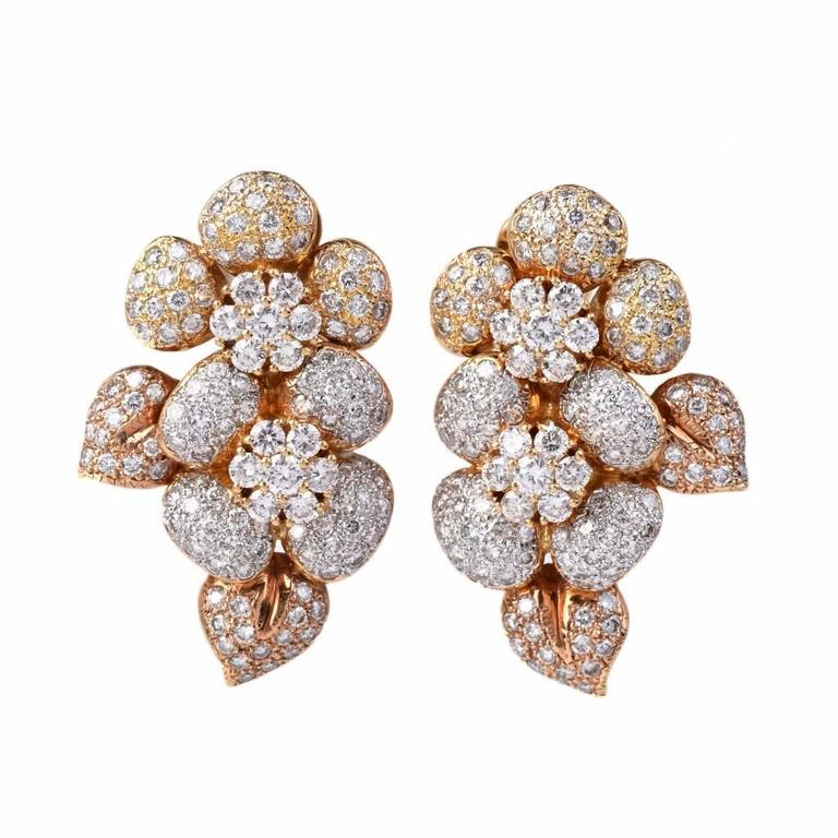 Large Diamond  Cluster clip-on 18k  Gold Earrings 4
