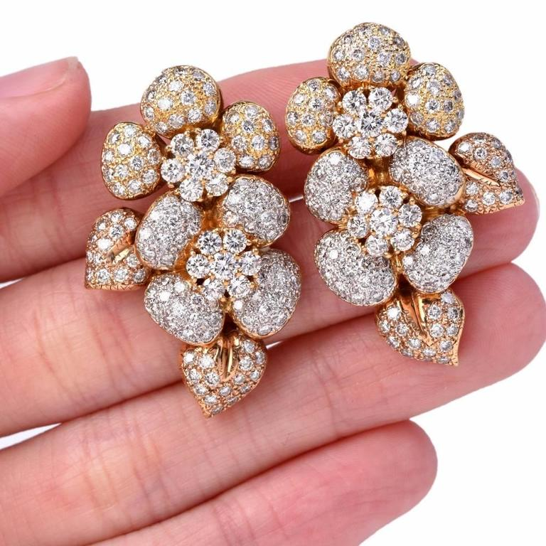 Large Diamond  Cluster clip-on 18k  Gold Earrings 5