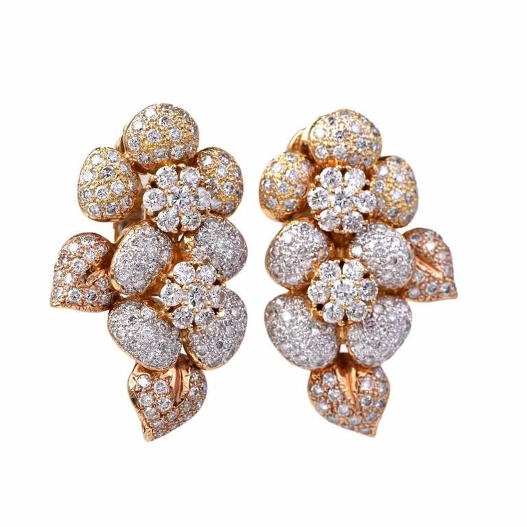 Large Diamond  Cluster clip-on 18k  Gold Earrings 2