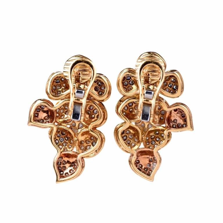 Large Diamond  Cluster clip-on 18k  Gold Earrings 6