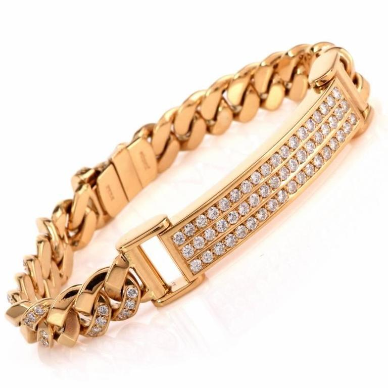 This Breathtaking Designer Italian Monique Men S Id Diamond Chain Link Bracelet Weighing Rox