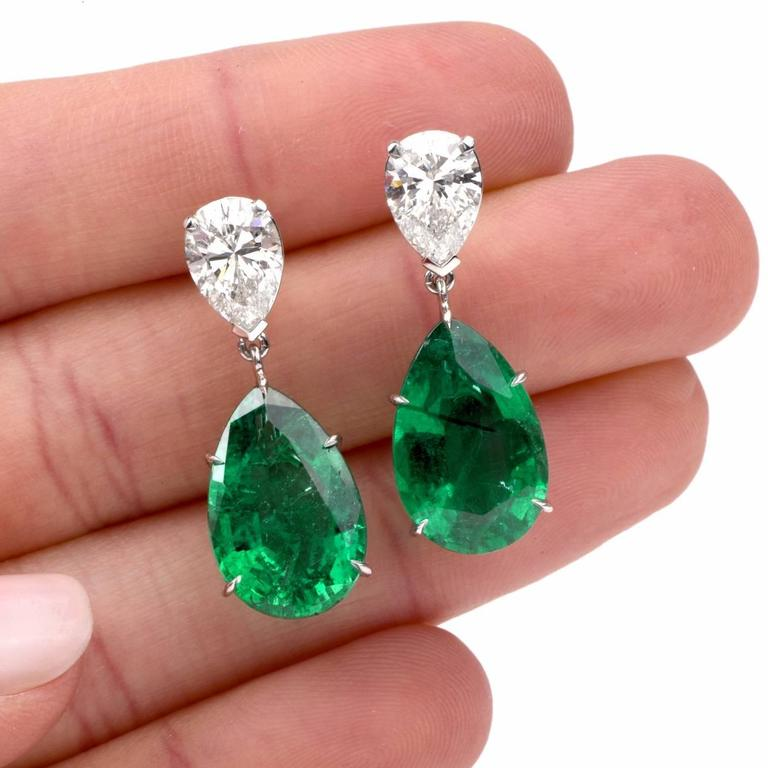 These Stunning Emerald Diamond Earrings Hand Crafted In Platinum Freely Dangling By Two Extremely Fine