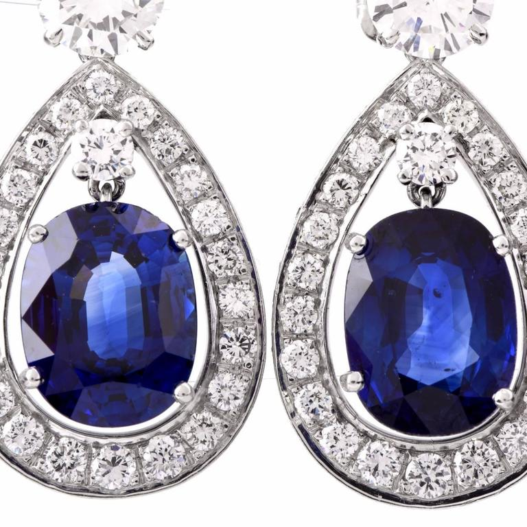 Certified Sapphire Diamond Platinum Drop Earrings In Excellent Condition For Sale In Miami, FL