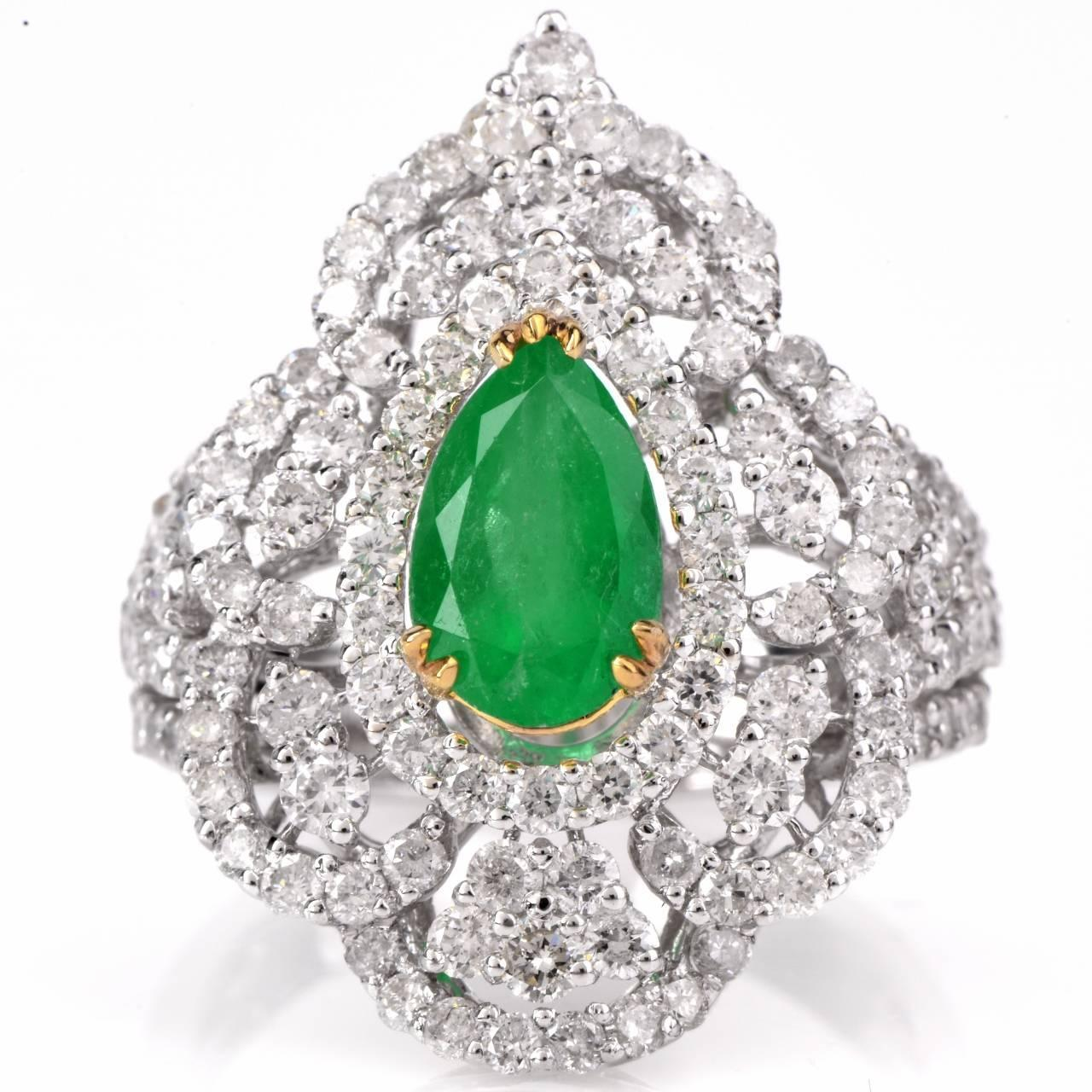 pear emerald gold engagement ring at 1stdibs