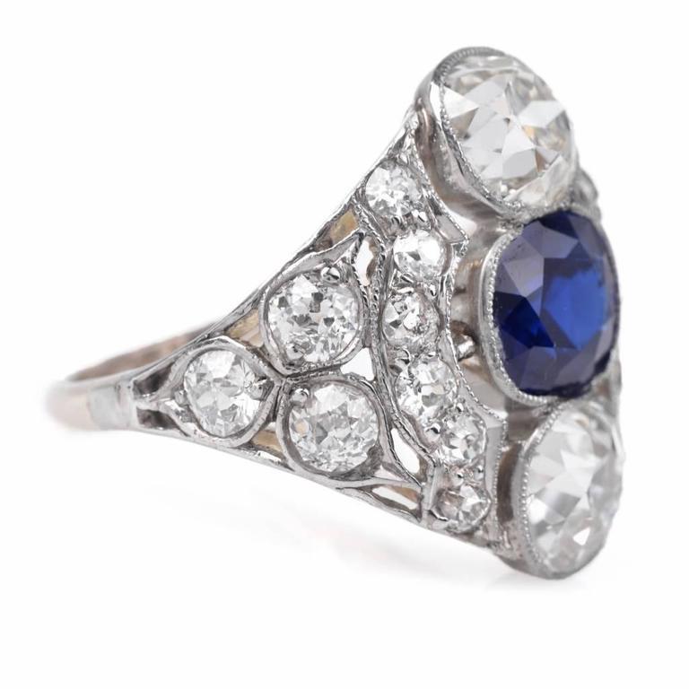 antique sapphire platinum engagement ring for sale