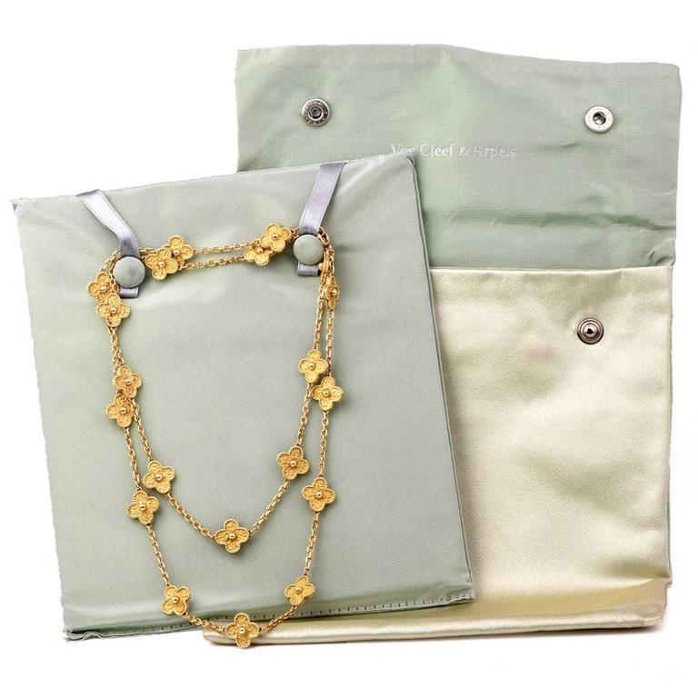 Van Cleef & Arpels  Vintage Alhambra 20 Motif 32 Inch Gold Necklace For Sale 2