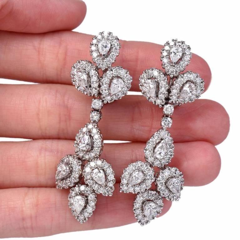 Girandole Era Glamorous Diamond Gold Chandelier Earrings 4