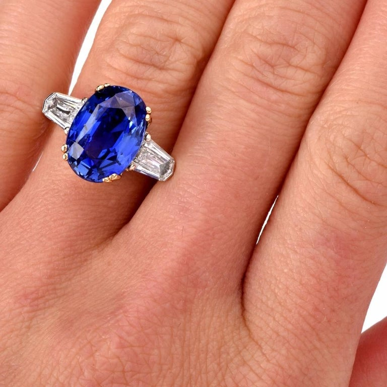 Burma No Heat Natural Sapphire Diamond Platinum Ring In Excellent Condition For Sale In Miami, FL