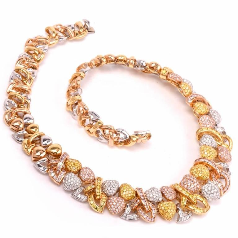 Natural Fancy Pink and Yellow GIA Diamond Gold Heart Necklace For Sale 6