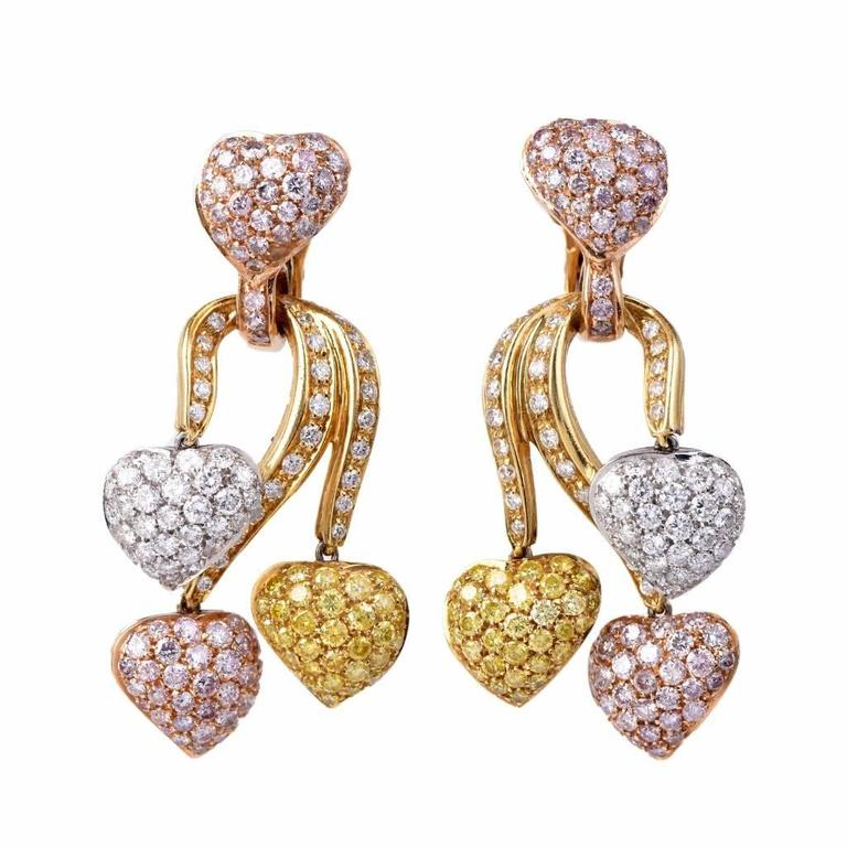 Certifie Natural Gia Diamond Pink Yellow White Gold Heart Drop Earrings In Excellent Condition For
