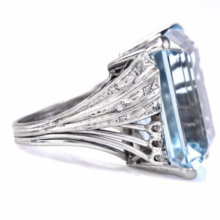 Aquamarine Diamond Platinum Ring 2